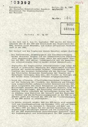 """Befehl Nr. 14/87 zum Abschluss der Aktion """"Dialog 87"""""""