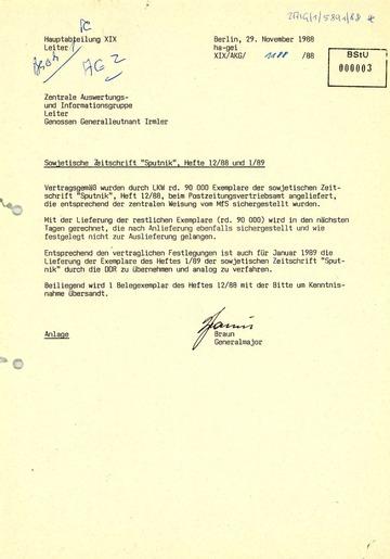 """Information über die Sicherstellung importierter """"Sputnik""""-Zeitschriften"""