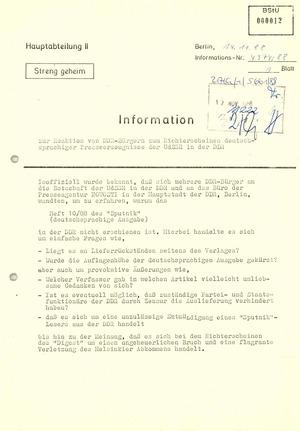 """Reaktionen von DDR-Bürgern auf das """"Sputnik""""-Verbot"""