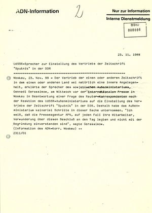 """Stellungnahme des sowjetischen Außenministeriums zum """"Sputnik""""-Verbot"""