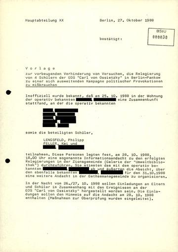 Verhinderung von Solidaritätsbekundungen in der Ossietzky-Affäre