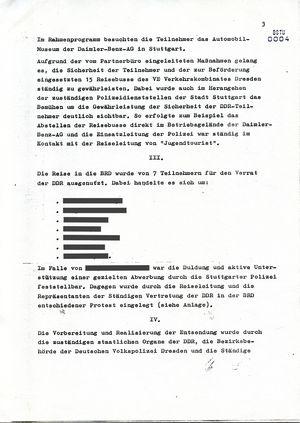Bericht zum Aufenthalt einer Jugendreisegruppe zum UEFA-Cup-Halbfinalspiel in Stuttgart am 5. und 6. April 1989