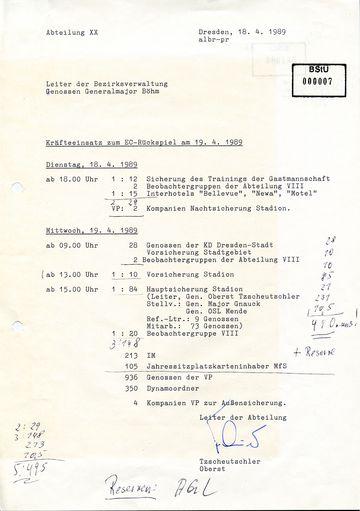 Kräfteeinsatz zum Europapokal-Rückspiel Dresden gegen Stuttgart am 19. April 1989
