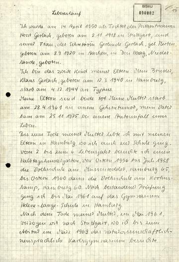 "Fiktiver Lebenslauf der RAF-AussteigerinSilke Maier-Witt (""Angelika Gerlach"")"