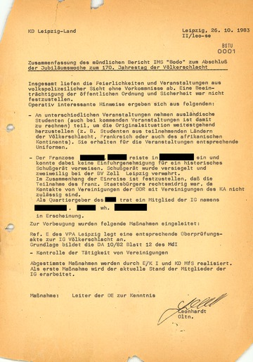 """Bericht des IMS """"Bodo"""" zum Abschluss der Jubiläumswoche zum 170. Jahrestag der Völkerschlacht"""