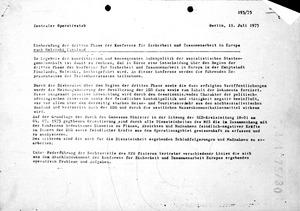 """Anweisung zur Überwachung """"feindlich-negativer Kräfte"""" während der KSZE-Konferenz"""