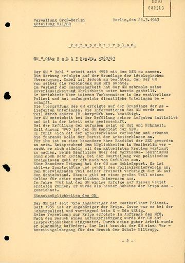"""""""Perspektivplan"""" des MfS für GM """"Otto Bohl"""" alias Karl-Heinz Kurras"""