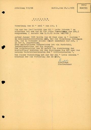 Bericht über die Versetzung von Karl-Heinz Kurras zur Abteilung I der West-Berliner Polizei