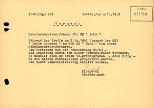 """Bericht über die Übergabe des """"Geheimschreibverfahrens CL/63"""" an den GM """"Otto Bohl"""""""