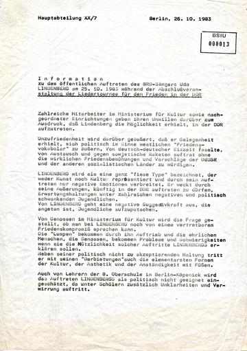 Information zum öffentlichen Auftreten Udo Lindenbergs während seines Konzertes in Ost-Berlin