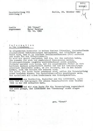 IM-Bericht über Meinungen zum Lindenberg-Konzert in Ost-Berlin