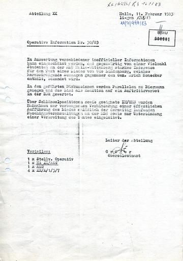 Operative Information Nr. 30/83 über Udo Lindenberg hörende Studenten
