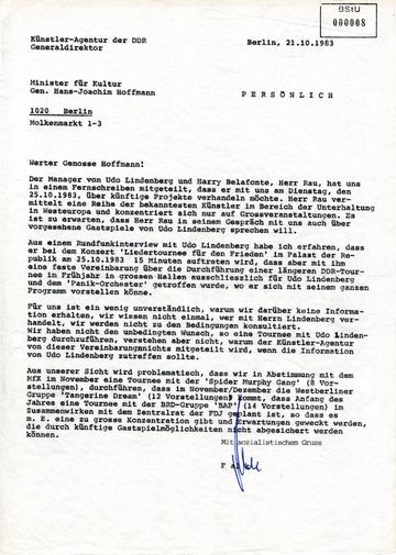 Brief des Generaldirektors der Künstler-Agentur an den Minister für Kultur