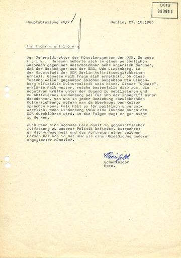 Information über Unmutsäußerung des Generaldirektors der Künstleragentur Hermann Falk
