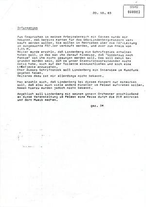 IM-Bericht über den Kartenverkauf für das Lindenberg-Konzert in Ost-Berlin