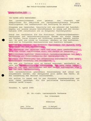 Beschluss der 22. Landessynode Sachsens zu den Kommunalwahlen 1989