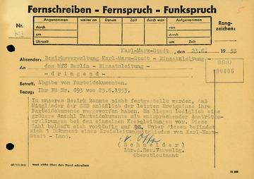 Meldung über Parteiaustritte wegen der Ereignisse vom 17. Juni 1953