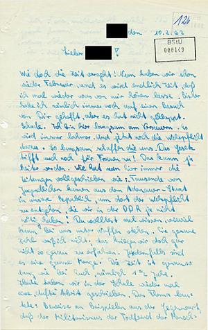 Abgefangener Brief mit Hinweisen auf eine mögliche Republikflucht