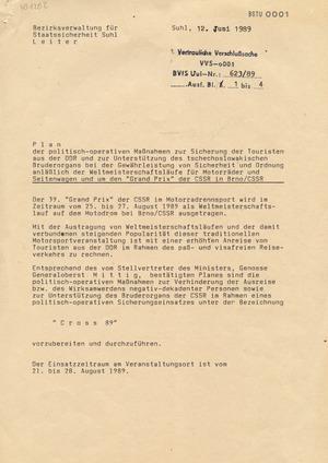 Plan zur Absicherung des 39. Grand Prix im Motorradrennsport in Brünn