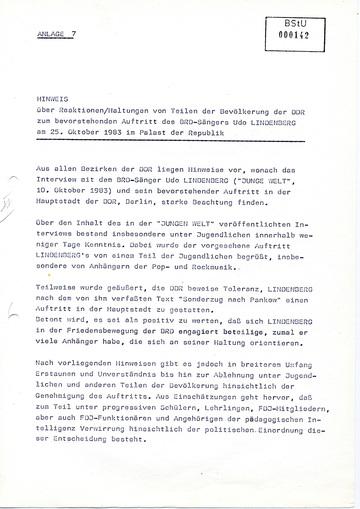 Hinweis über Reaktionen der Bevölkerung zum bevorstehenden Auftritt von Udo Lindenberg