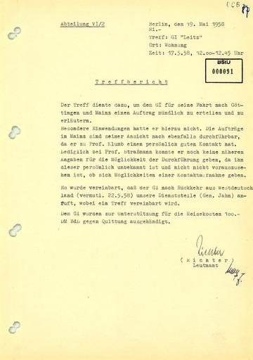 """Bericht über ein Treffen zur Erteilung eines Auftrages an GI """"Leitz"""" (Robert Havemann)"""