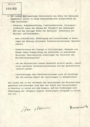 Schreiben von Modrow und Staatsekretär Halbritter an die Beauftragten des Ministerrates zur Vernichtung von Unterlagen