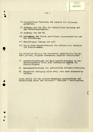 Schreiben der Organisation Gehlen zur Politischen Gesamtlage in der DDR