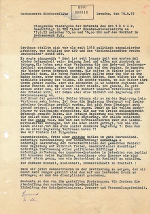 Aus der Rede von Wilhelm Grothaus im Sachsenwerk in Niedersedlitz