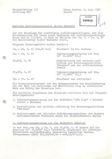 """Bericht der Funkaufklärung des MfS über eine """"maritime politisch-operative Aktion"""" in der Nordsee"""