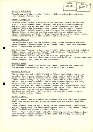 Sitzungsprotokoll der Parteikontrollkommission der SED-Kreisleitung im MfS