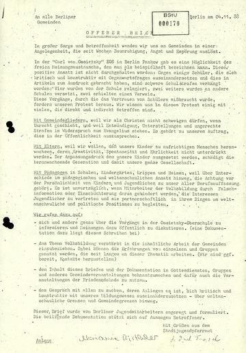 Offener Brief der Kirche zu den relegierten Jugendlichen an der Ossietzky-Schule
