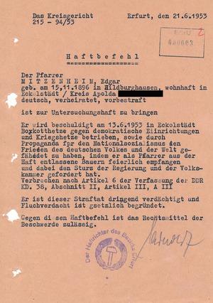 Haftbefehl gegen den Pfarrer Edgar Mitzenheim
