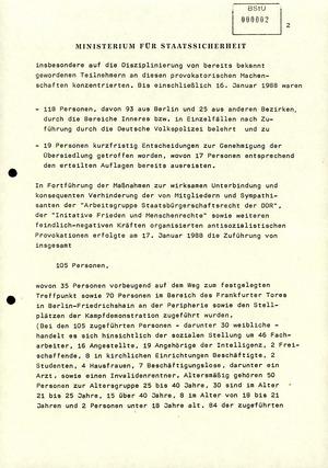 """Information über die Unterbindung von Störaktionen bei der """"Kampfdemonstration"""" am 17. Januar 1988"""