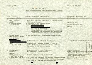 Aufstellung der DDR-Verbindungen von RAF-Mitgliedern