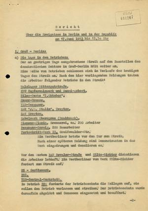 Bericht über die Ereignisse in der DDR am 17. Juni 1953