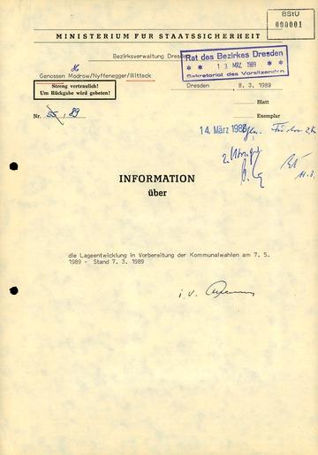 Information über die Lage im Vorfeld der Kommunalwahlen von 1989 in Dresden