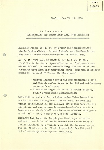 Plan zur Durchführung der Ausbürgerung Wolf Biermanns mit Argumentationshilfen