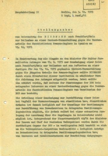 Stellungnahme der Hauptabteilung IX zu einem Reiseantrag Wolf Biermanns