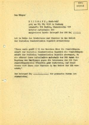 Anordnung zum Einziehen desReisepasses von Wolf Biermann
