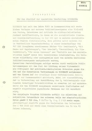 Konzeptionzur Ausbürgerung Wolf Biermanns