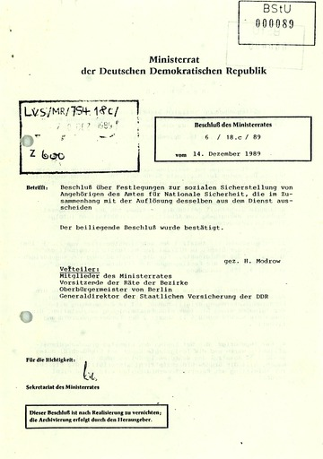 """Beschluss des Ministerrats der DDR """"zur sozialen Sicherstellung von Angehörigen des Amtes für Nationale Sicherheit"""""""