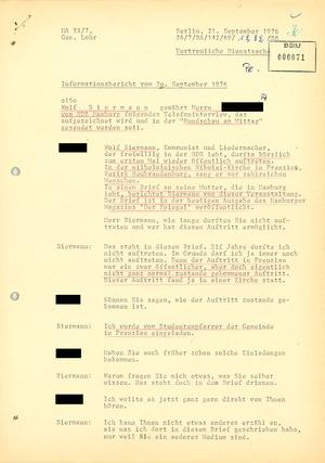 Abgehörtes Telefoninterview von Wolf Biermann mit dem NDR