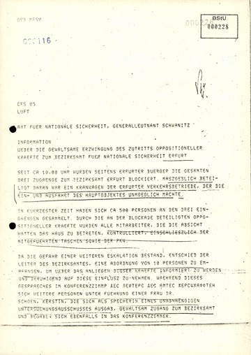 Telegramm von Generalmajor Schwarz an den Leiter des AfNS über die Besetzung des Bezirksamts in Erfurt