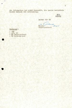 Operativinformation Nr. 73/88 der Kreisdienststelle Leipzig-Land zum 175. Jahrestag der Völkerschlacht