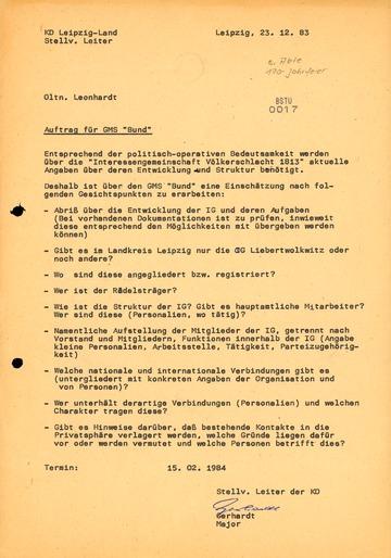 """Auftrag für den GMS """"Bund"""" zur Aufklärung der """"IG Völkerschlacht 1813"""""""