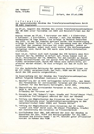 Information zur bevorstehenden Abnahme des Transferpressenkomplexes durch Audi Ingolstadt