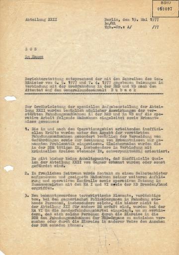 Bericht zur Großfahndung in der Bundesrepublik nach dem Attentat auf Siegfried Buback