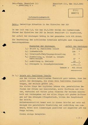 Informationsbericht der Abteilung M zur Postkontrolle bei Einheiten der Deutschen Grenzpolizei