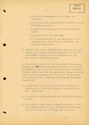 Bericht über die Stimmung unter den Angehörigen der Deutschen Grenzpolizei