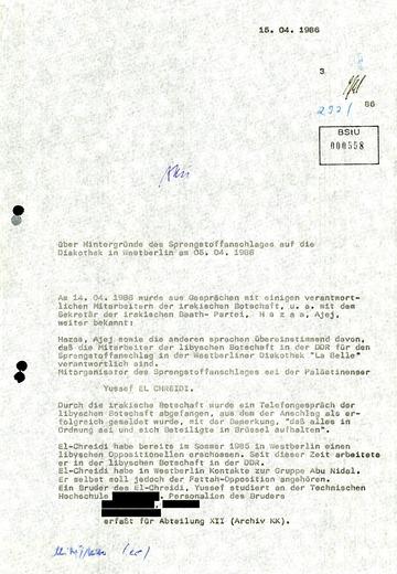 Information über Hintergründe des Sprengstoffanschlages auf die Diskothek in West-Berlin am 5. April 1986
